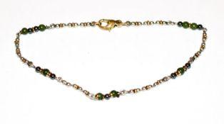 Silber Armband mit 18 k Gelbgold Schließe und Zwischenteilen, sowie Farbsteinkugeln, L 19 cm