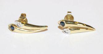 Paar 8 k Gelbgold Ohrstecker mit Safir und Diamant