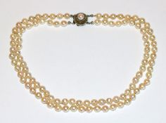 Perlenkette, 2-reihig mit Silberschließe, L 34 cm