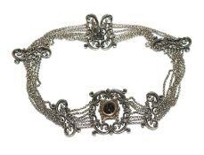 Silber Trachten-Kropfkette, 7-reihig mit Granat, L 35,5 cm
