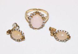 9 k Gelbgold Ring mit rosefarbenen Opalen und Zirkonkranz ?, ein Stein fehlt, Gr. 57, und Paar