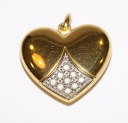 8 k Gelbgold Herz-Anhänger mit Glassteinen verziert, 4,7 gr. H 2,5 cm, B 3 cm
