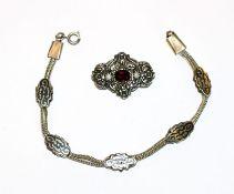 Silber Armband mit Nielloarbeit, evt. Russland ?, L 19 cm, schöne Handarbeit