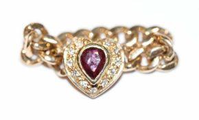 14 k Gelbgold Kettenring mit Rubin und Diamanten in Herzform, Gr. 46