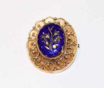 14 k Gelbgold Medaillon-Brosche zum Öffnen für 2 Fotos, mit blauem Email, Floraldekor mit