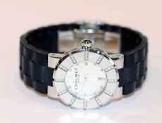 Chaumet Paris Damen Armbanduhr, Class One, Stahlgehäuse mit Diamanten, schwarzes Gummiarmband, von