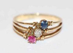14 k Gelbgold (geprüft) Ring mit Diamant und Spinellen, Gr. 56, 2,8 gr. ältere Handarbeit