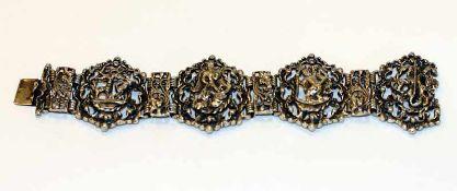 Silber Armband mit reliefierten Heiligendekoren, u.a. St. Georg, St. Hubertus, Hl. Christophorus,