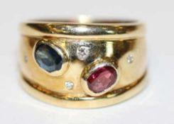 14 k Gelbgold Ring mit Safir, Rubin und kleinen Diamanten, 7,5 gr., Gr. 52