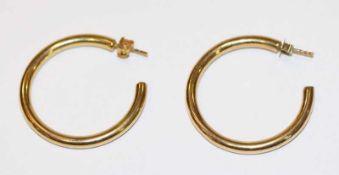 Paar 14 k Gelbgold Creolen-Stecker, 5,6 gr., D 3 cm