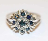 14 k Weißgold Ring mit 9 Safiren und 8 Diamanten, Gr. 51, 3,6 gr.