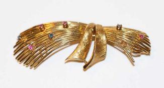 18 k Gelbgold Brosche mit Farbsteinen besetzt, ein Stein fehlt, 60er Jahre, 13,2 gr., B 7 cm