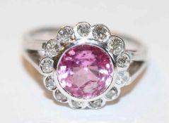 18 k Weißgolod Ring mit Chattam Pink Safir, 2,69 ct. und 12 Diamanten, Gr. 54, 6 gr.