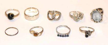 Konvolut von 9 diversen Silber Ringen