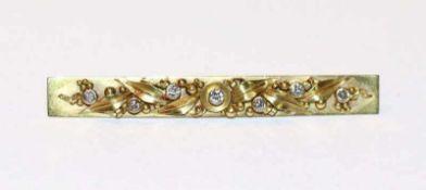 14 k Gelbgold Nadel mit Blattdekor und 7 Diamanten, B 5,5 cm