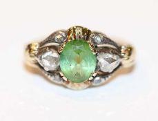Silber/vergoldeter Ring mit 6 Diamanten und Turmalin ?, 19. Jahrhundert, Gr. 47, schöne Handarbeit