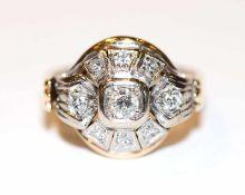 14 k Gelb- und Weißgold Ring mit Diamanten, 5,8 gr., Gr. 51, schöne Handarbeit