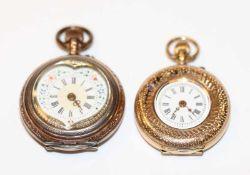 14 k Gelbgold Damen Taschenuhr, Gehäuse fein graviert mit Emaildekor, D 2,8 cm, und Silber Damen