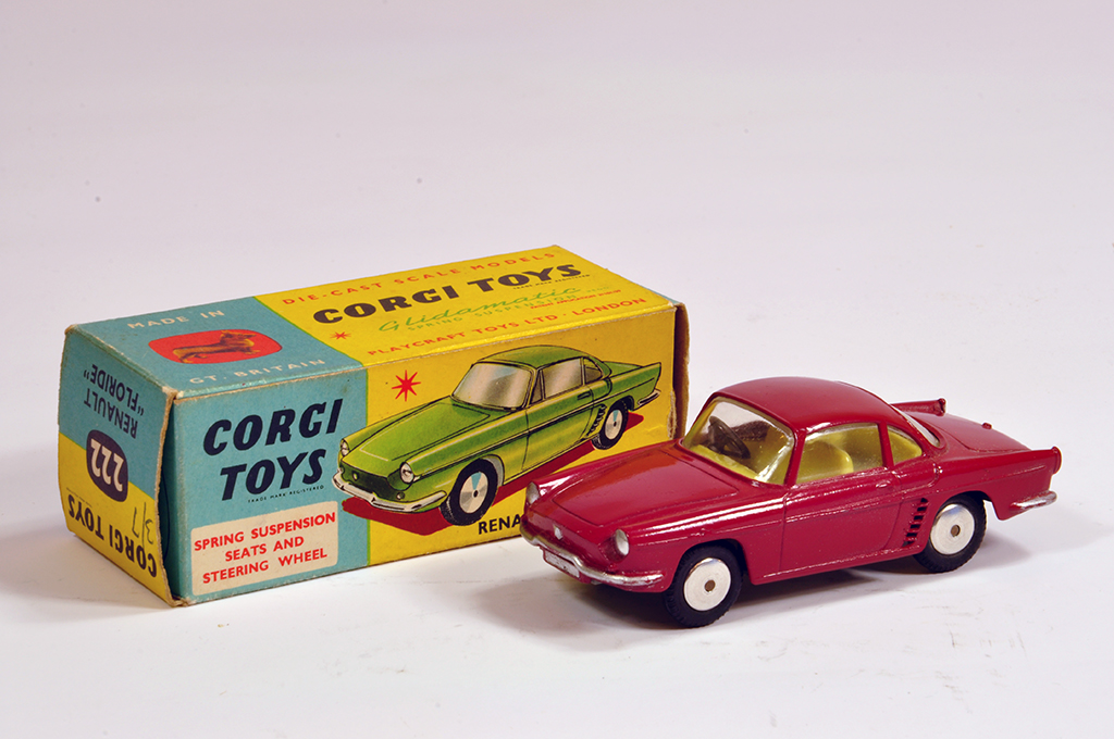 Lot 28 - Corgi No. 222 Renault Floride in Dark Red. Fine example is NM in VG to E Box.