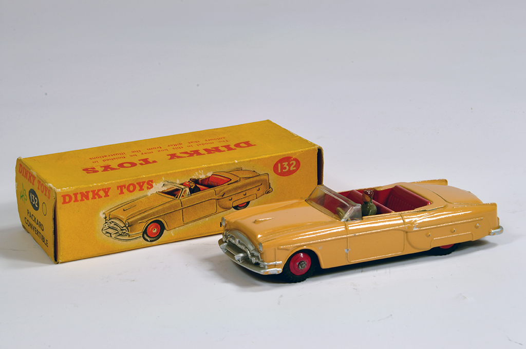 Lot 54 - Dinky No. 132 Packard Convertible in light tan body. VG to E in G Box.