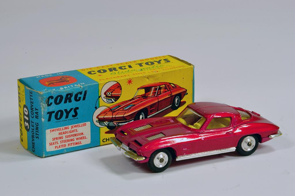 Lot 46 - Corgi No. 310 Chevrolet Corvette Stingray in metallic cerise. E to NM in G to VG Box.