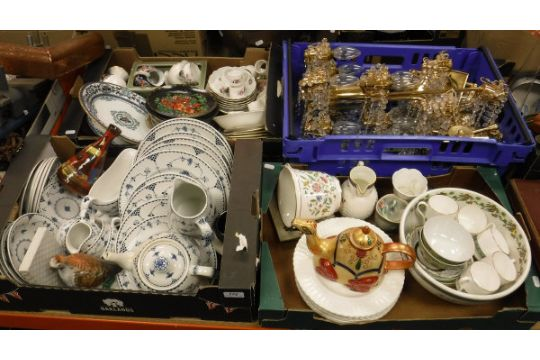 Three boxes of various china wares to include Johnson Bros. \