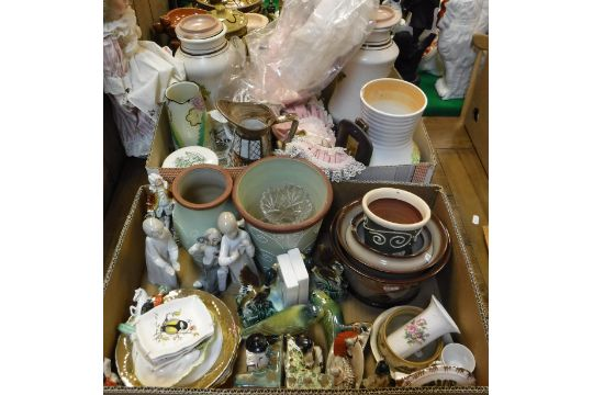 Two Boxes Of Various China And Glassware To Include Radford Vases