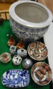 A collection of Oriental china wares to include blue and white jardinier,