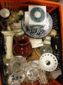 A box of assorted miscellaneous china to include a Troika square vase,