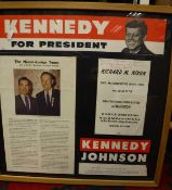 A framed and glazed collection of 1960's electioneering ephemera including two Democratic National