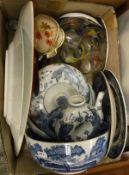 WITHDRAWN A box of assorted china and metal wares to include two Royal Worcester Paisley trinket