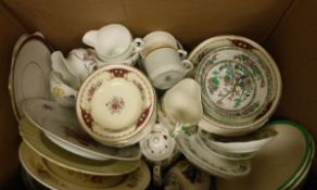 Four boxes of assorted china to include dinner wares, jardiners etc, a box of glass ware,