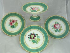 A hand-painted six place setting dessert service with matching tazza with central floral spray