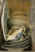 A box of assorted china to include an Emma Bridgwater dinner plate, pair of brass candlesticks,