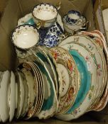 A box containing assorted decorative china to include Cauldon ware retailed by Maple & Co.