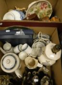 "Two boxes of assorted china wares to include a Royal Worcester ""Medici"" part coffee set,"