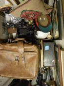 A box of assorted china and sundry wares to include a Sankyo Super LXL video camera,