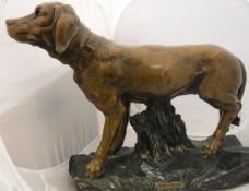 "A bronze coloured plaster sculpture of a hound entitled ""Chien de chasse"""
