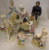 "Five various Continental figures / figure groups including a Capo-di-monte ""Mother and child"" group,"