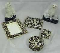 "A Wedgwood ""Cornucopia"" pattern dressing table set with dish, lidded box,"
