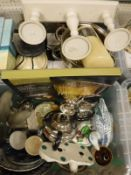 Two boxes of assorted sundry household items to include square plates, pasta dryer, candles,