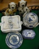 A pair of Victorian Staffordshire copper lustre Spaniel ornaments, blue and white soup tureen,