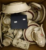 "A box of assorted china to include Royal Doulton ""Old Leeds Spray"" tea wares,"