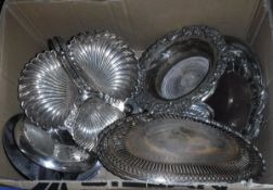 A box of assorted plated wares to include swing-handled basket, wine coaster, etc,