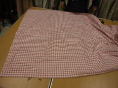 One pair of cotton / linen type pink and cream check thermal interlined curtains with taped pencil