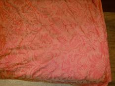 A pair of shot silk self pattern Damask style burnt orange interlined curtains with fixed triple