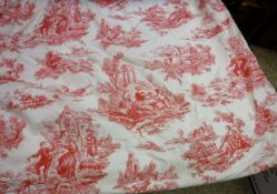 A pair of cotton type Toile de Jouy red and cream interlined curtains with taped pencil pleat