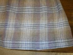 A pair of wool mix plaid design heather palette lined curtains with fixed triple pinch pleat