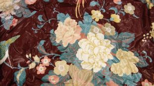 A collection of glazed cotton and other interlined curtains all of chintz style design together