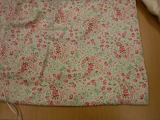 A pair of cotton paisley Cath Kidson design interlined curtains with tape pencil pleat heading,